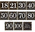 32 Black/Gold/Silver Paper Luncheon Napkins Birthday Party Serviettes Tableware