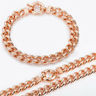 10MM Men Chain Curb Link Rose Gold Filled GF Bracelet Necklace GF Jewelry SET