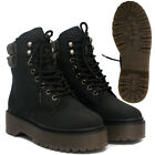 Ladies Womens New Lace Up Military Army All Terrian Ankle Boots Shoes Sizes Uk