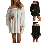 Women Boho Ruffle Sleeve Off Shoulder Dress Tops Tee Shirt Blouse Size S-3XL BT