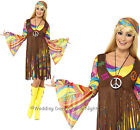8-22 Groovy 60s 70s Hippie Costume Ladies Flower Power Hippy Fancy Dress Outfit