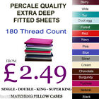 Fitted Sheets Percale Non Iron Plain dyed Polycotton Single Double King S.King