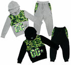 Boys Army Camo Mesh Insert Hoody Tracksuit Combat Jog Suit Set 3 to 14 Years