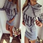 Women Slim Letter Print Long Sleeve Tops Hoodie Jumper Sports Sweater Mini Dress
