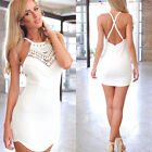 Womens Sexy Dress Ladies Bodycon Cocktail Party Evening Dress Size 6-16 White CY