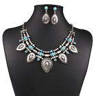 Fashion Womens Crystal Charms Chain Statement Bib Necklace Choker Earrings Set