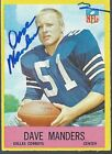 Dallas Cowoys DAVE MANDERS Signed Card