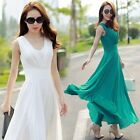 Women Slim Summer Fashion Solid Chiffon Sleeveless Bohemia Maxi Long Beach Dress