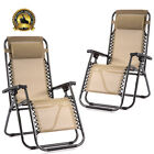 New Zero Gravity Chairs Case Of 2 Lounge Patio Chairs Outdoor Yard Beach O62 фото
