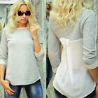 New Women Ladies Blouse Loose Chiffon Cotton Long Sleeve Shirt Casual Tops Grey