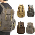 Mens Vintage Canvas Backpack Rucksack Satchel School Bag Travel Camping Backpack