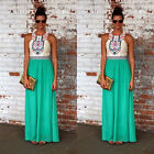 Ladies Contrast Plated Sexy Boho Long Maxi Dress Summer Beach Party Sundress UK