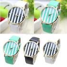 Vintage PU Leather Stripes Style Fashion Woman Girl Quartz Analog Wrist Watch