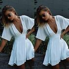 Sexy Summer Women White Bodycon Evening Sexy Party Cocktail Mini Flared Dress