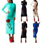 Hot Women Spring Rose Bodycon Long Dress Cocktail Party Long Sleeve Slim Dress