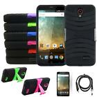 Phone Case For ZTE Avid Plus 4g LTE Heavy Duty Cover Stand USB Charger Film