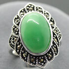 Fashion Natural Green Jade 925 Sterling Silver Ring Jewelry Size 7 8 9 10