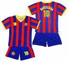 Boys BARCELONA Logo Sport T-Shirt Top & Shorts Outfit Kit Set 2-14 Years NEW