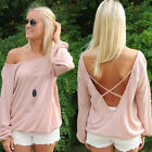 Womens Summer Casual Pink Deep V Backless Off Shoulder Loose Cotton Blouse Tops
