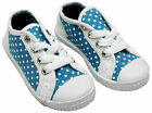 Girls Polka Spot Canvas Shoes Lace Up Pumps Trainers Blue Toddler Sizes 4 to 8