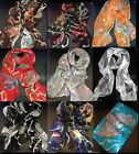 New WOMEN Colorful BUTTERFLY Print Georgette 100% SILK LONG SCARF SHAWL WRAP