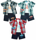 Boys 3 Pce Motor Car Check Shirt Vest Top & Denim Look Shorts Set 2 to 10 Years