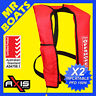2 x AXIS INFLATABLE LIFEJACKET -RED- 150N PFD1 OFFSHORE Manual Jacket FREE POST