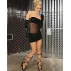 Plus Size Black Vinyl and Mesh Mini Dress Size 3X EMV8119X