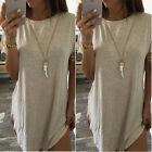 Hot Women Tops Cropped Short Sleeve Dress Side Slit Casual Long Cotton T shirt