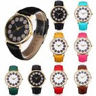 Chic Casual Women Gold Plated Dial Boho Flower Leather Strap Quartz Wrist Watch