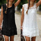 UK 6-22 Celeb Lace Party Evening Summer Ladies Dress Shorts Mini Dress Top White