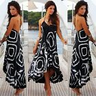 Women Halter V-Neck Backless Asymmetrical Hem Boho Beach Long Maxi Summer Dress