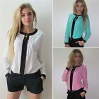 Trendy Women Casual Chiffon T Shirt OL Work O-neck Long Sleeve Blouses Tops - LD