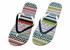 LADIES GIRLS FLIP FLOPS SANDALS AZTEC ZIG ZAG RED/BLACK GREEN/BLUE 3/4 5/6 7/8