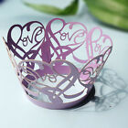 12 Love Hearts Laser Cut Cupcake Wrappers Birthday Party Wedding Favor Purple