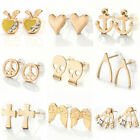 Fashion Simple Gold Tone Love Crystal Rhinestone Charms Ear Stud Earrings Women