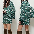 Sexy Women  Casual Long Flare Sleeve Floral Mini Shift Dress Print Flower EN24H