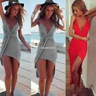 Sexy Women Backless Summer Beach Boho V-Neck Maxi Evening Party Long Dress AU