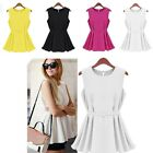 Fashion Women Sleeveless Tunic Tops 4Color Casual Slim Tank Tops With Belt