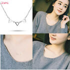 925 Sterling Silver Triangle Geometric Chain Pendant Statement Choker Necklace