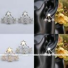 Fashion Gold Silver Star Crystal Cuff Ear Jacket Stud Earrings Women Jewelry