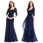 Navy Blue Ladies Lace Sleeved Maxi Evening Prom Dresses Size 2 4 6 8 10 12 14 16