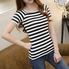 2016 Women Slim Round Neck Striped Short Sleeve T-shirt Blouse Casual Tee Tops