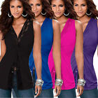 Womens Sexy Lace Up V Neck Frilled Waist Skater Peplum Top Blouse Shirt Party