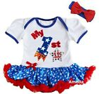 Baby 1st 4th of July Firecracker White Blue Star Bodysuit Tutu and Headband