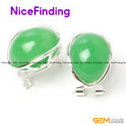 Oval Beads Silver Plated Omega Back Stud Earrings Women Jewelry Mother's Gifts