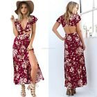 New Sexy Women Summer Floral Boho Evening Party Split Long Maxi Backless Dress