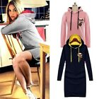 NEW Womens Long Sleeves Casual Hoodie Pullover Mini Dress Sweatshirt Jumper - LD
