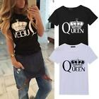 Women Ladies Loose Cotton Printed T-Shirt Summer Short Sleeve Tee Blouse Tops