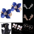 Graceful Gardenia Flower Crystal Ear Studs Rhinestone Ear Hoop Buckle Earrings